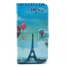 LG G2 kožený obal Blue Eiffel Tower