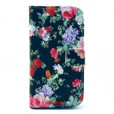 HTC Desire 500 kožený obal Black Flower