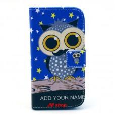 HTC Desire 500 kožený obal Blue Owl