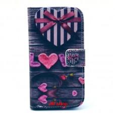 HTC Desire 500 kožený obal Love Heart