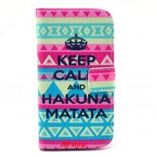 HTC Desire 500 kožený obal Keep Calm Matata