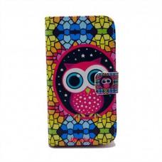 Samsung Galaxy S4 i9500 kožený obal Colorful Owl