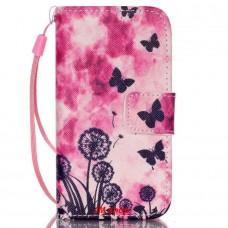 iPhone 4/ 4S kožený obal Butterfly Dandelions