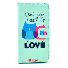 Samsung Galaxy Alpha kožený obal Loving Owls