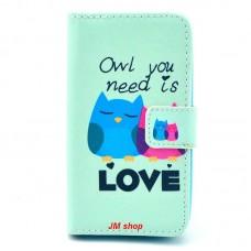 HUAWEI Ascend Y330 kožený obal Loving Owls - SKLADEM