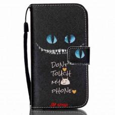 Samsung Galaxy S4 Mini kožený obal Don't Touch My Phone
