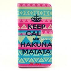 LG G3 kožený obal Keep Calm Matata
