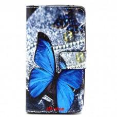 Samsung Galaxy S6 Edge kožený obal Blue Butterfly