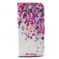 HTC One M9 kožený obal Lots Flower