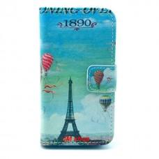 iPhone 4/ 4S kožený obal Blue Eiffel Tower