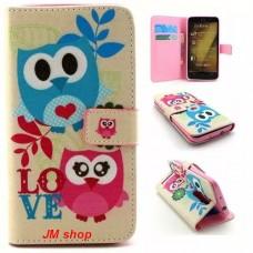 Asus Zenfone 2 kožený obal Owl Love