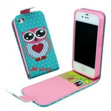 iPhone 5S kožený flip Owl