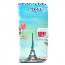 iPhone 5C kožený obal Blue Eiffel Tower