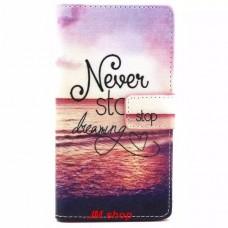 Sony Xperia M2 kožený obal Never Stop