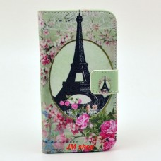 Samsung Galaxy S3 i9300 kožený obal Eiffel Tower Flower