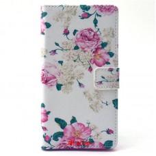 Sony Xperia T3 kožený obal Peony Flower