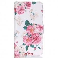 HTC Desire 626 kožený obal Peony Flower - SKLADEM