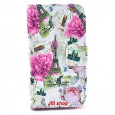 Samsung Galaxy Ace 2 kožený obal Eiffel Tower and Flower