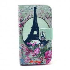 Samsung Galaxy Ace 2 kožený obal Eiffel Tower Flower
