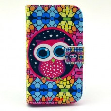 Motorola Moto E kožený obal Colorful Owl