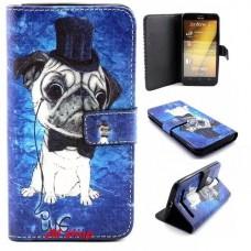Asus Zenfone 2 kožený obal Pug Dog