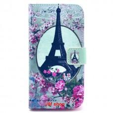 LG G2 kožený obal Eiffel Tower Flower