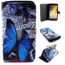 Asus Zenfone 2 kožený obal Blue Butterfly