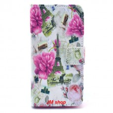 Sony Xperia Z1 Compact kožený obal Eiffel Tower and Flower