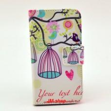 iPhone 4/ 4S kožený obal Bird Flower