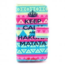 Samsung Galaxy Ace 2 kožený obal Keep Calm Matata