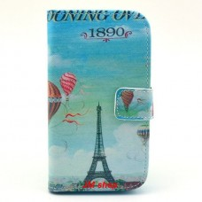 Samsung Galaxy S3 i9300 kožený obal Blue Eiffel Tower