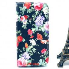 iPhone 6 kožený obal Black Flower