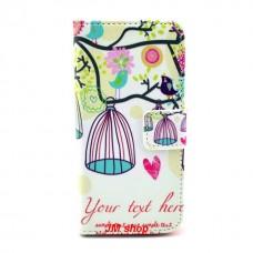 iPhone 5C kožený obal Bird Flower