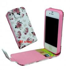 iPhone 5S kožený flip Floral