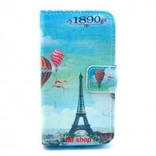 Samsung Galaxy Ace 2 kožený obal Blue Eiffel Tower