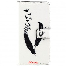 Samsung Galaxy S6 Edge Plus kožený obal Feather Birds