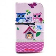 Motorola Moto E kožený obal Owls Family