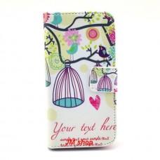 Samsung Galaxy S4 Mini kožený obal Bird Flower
