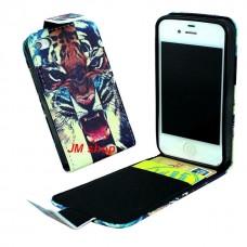 iPhone 5S kožený flip Tiger