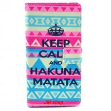 Sony Xperia Z1 kožený obal Keep Calm Matata