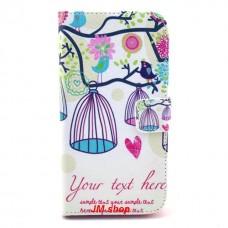 LG G2 kožený obal Bird Flower