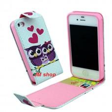 iPhone 5S kožený flip Loving Owls