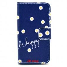 iPhone 4/ 4S kožený obal Be Happy Flower - SKLADEM