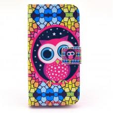 Samsung Galaxy S5 Mini kožený obal Colorful Owl