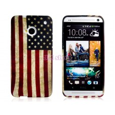 Gumový kryt na HTC One M7 USA Flag