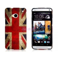 Gumový kryt na HTC One M7 UK Flag