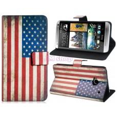 HTC One M7 kožený obal USA Flag