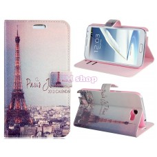 Samsung Galaxy Note 2 kožený obal Eiffel Tower - SKLADEM