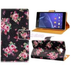 Sony Xperia M2 kožený obal Black Rose - SKLADEM