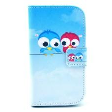 Samsung Galaxy S4 i9500 kožený obal Birds - SKLADEM